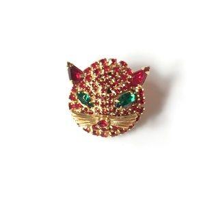 Vintage Red Rhinestones Cat Face Brooch